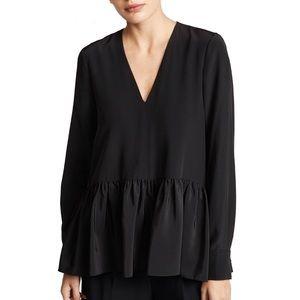 Tibi Silk Crêpe de Chine Peplum Top Black Tunic